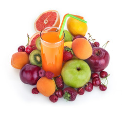 fresh healthy multivitamin juice with several fruits