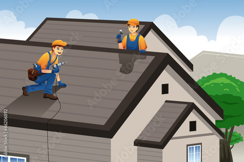 Roofer working on the roof - 66206892