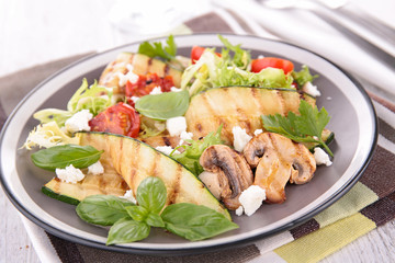 salad with grilled vegetable and feta