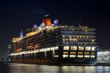 The Queen Elizabeth at Yokohama Japan at night