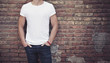 man wearing white t-shirt - 66207841