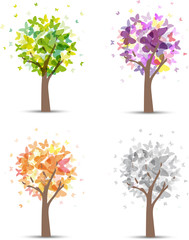 Stagioni, albero farfalle