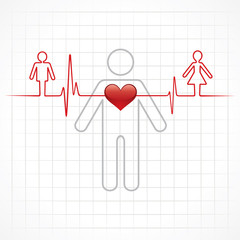 Heartbeat make a male and female symbol stock vector