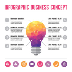 Infographic Business Concept - Creative Idea of Lamp