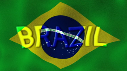 BRAZIL Text and Flag