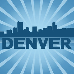 Denver skyline reflected with blue sunburst illustration