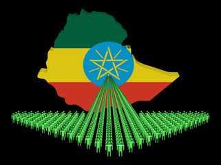Arrow of people with Ethiopia map flag illustration