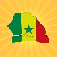 Senegal map flag on sunburst illustration