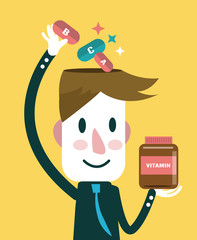 Businessman putting vitamins in his head. Vector illustration