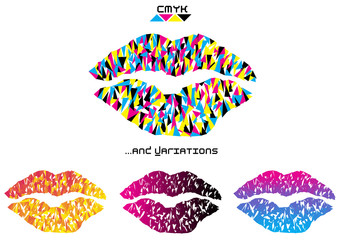 color vector pop art lips on white background