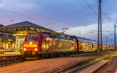 Suburban electric train at Offenburg railway station. Germany
