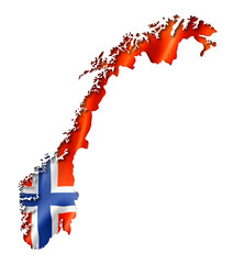 Norwegian flag map