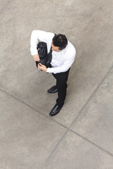 Top view of businessman