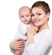 Mother and Baby. Happy Family isolated on a white background