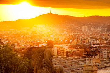 beautiful sunset in Barcelona