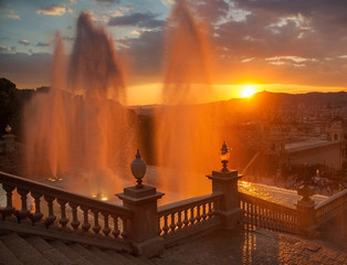 fountain in Barcelona at sunset