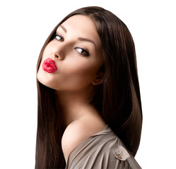 Beauty fashion girl portrait. Beauty brunette model