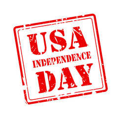 USA INDEPENDENCE DAY stamp with red text on white