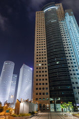 Tel Aviv high-rise buildings. night