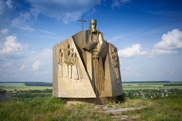 Monument of hetman Sahaidachny in Khotyn, Ukraine.