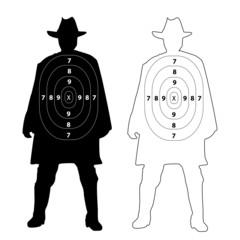 Cowboy gun target on white