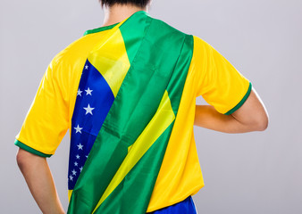 Sport man with Brazil flag