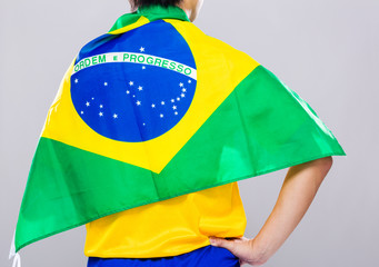 Football player with Brazil flag