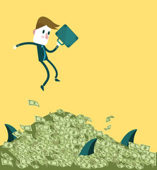 Businessman jumping to the big dollar pile.
