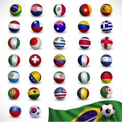 soccer ball (Football) with flag Brazil 2014, Soccer Tournament