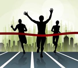 Winner. Marathon illustartion. Vector