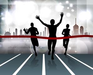 Sport. City runners. Vector