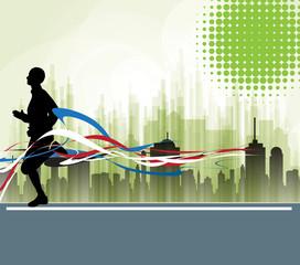 City runner. Vector