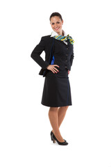 Full body flight attendant standing isolated on a white