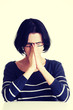Young sad woman, have big problem or depression