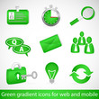 Green gradient icons for web applications and mobile devices