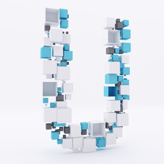 3D letter U build out of cubes