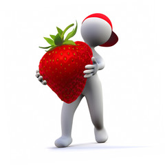 3D Man with strawberry