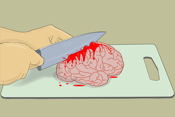 Brain with Knife