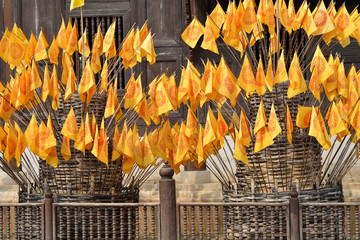 Flag of Dharmacakra, symbol of buddhism in thai temple, Thailand