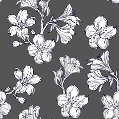 Seamless pattern with orhid