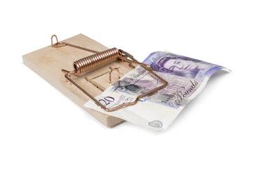 Mouse trap with pound bill isolated with clipping path.