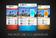 One page SPORT website flat UI design template