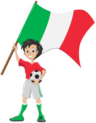 Happy soccer fan holds Italia flag