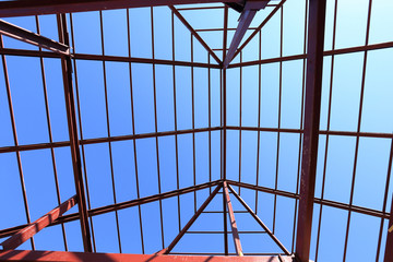 steel structure under the roof of building