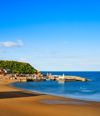 Scarborough beach, castle and harbour view