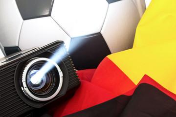 Beamer Fußball und Fahne