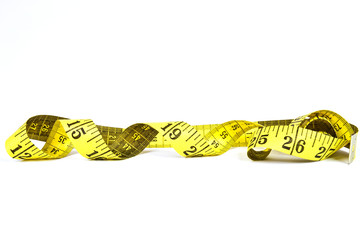 Measuring tape with applications in tailoring in yellow and blac