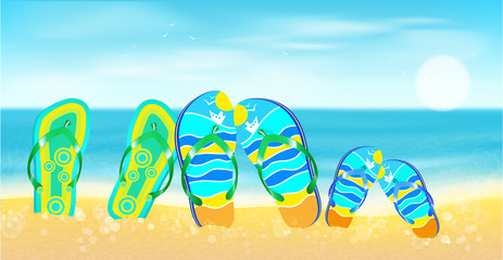Beach, sea,, sand  and bright beach shoes.Summer  background.