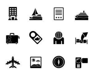 Silhouette Travel, vacation and holidays icons