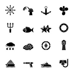 Silhouette Marine and sea icons